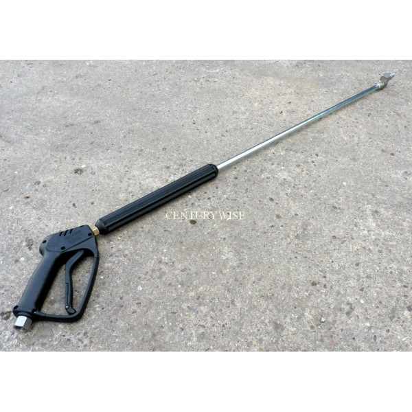 Pressure washer lance with swivel angle nozzle